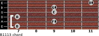 B11/13 for guitar on frets 7, 9, 7, 9, 9, 11