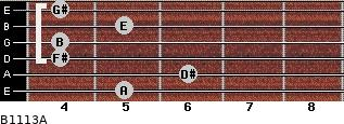 B11/13/A for guitar on frets 5, 6, 4, 4, 5, 4