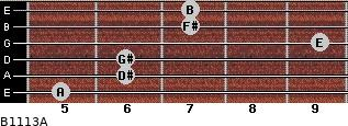 B11/13/A for guitar on frets 5, 6, 6, 9, 7, 7
