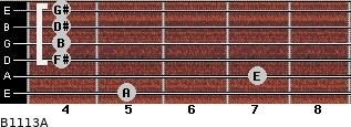 B11/13/A for guitar on frets 5, 7, 4, 4, 4, 4