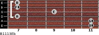 B11/13/Eb for guitar on frets 11, 11, 7, 9, 7, 7