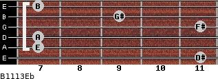 B11/13/Eb for guitar on frets 11, 7, 7, 11, 9, 7