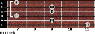 B11/13/Eb for guitar on frets 11, 9, 7, 9, 9, 7