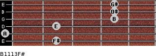 B11/13/F# for guitar on frets 2, 0, 2, 4, 4, 4