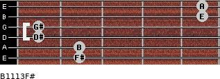 B11/13/F# for guitar on frets 2, 2, 1, 1, 5, 5