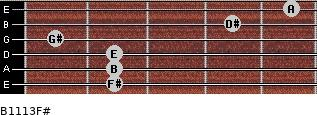 B11/13/F# for guitar on frets 2, 2, 2, 1, 4, 5