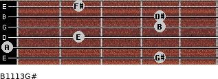 B11/13/G# for guitar on frets 4, 0, 2, 4, 4, 2