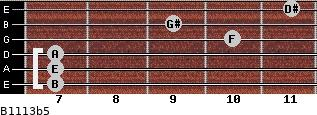 B11/13b5 for guitar on frets 7, 7, 7, 10, 9, 11