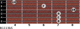 B11/13b5 for guitar on frets 7, 7, 7, 8, 6, 4