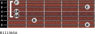 B11/13b5/A for guitar on frets 5, 2, 1, 1, 5, 1