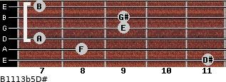 B11/13b5/D# for guitar on frets 11, 8, 7, 9, 9, 7