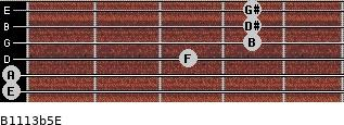 B11/13b5/E for guitar on frets 0, 0, 3, 4, 4, 4