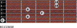 B11/13b5/E for guitar on frets 0, 2, 3, 2, 4, 4