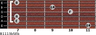 B11/13b5/Eb for guitar on frets 11, 7, 7, 10, 9, 7