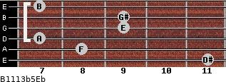 B11/13b5/Eb for guitar on frets 11, 8, 7, 9, 9, 7