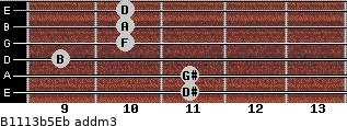 B11/13b5/Eb add(m3) guitar chord