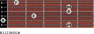 B11/13b5/G# for guitar on frets 4, 0, 2, 4, 4, 1