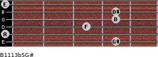 B11/13b5/G# for guitar on frets 4, 0, 3, 4, 4, 0
