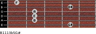 B11/13b5/G# for guitar on frets 4, 2, 2, 2, 4, 1