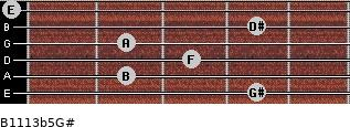 B11/13b5/G# for guitar on frets 4, 2, 3, 2, 4, 0