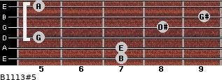 B11/13#5 for guitar on frets 7, 7, 5, 8, 9, 5