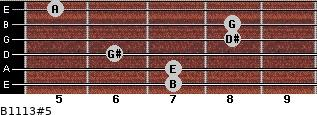 B11/13#5 for guitar on frets 7, 7, 6, 8, 8, 5
