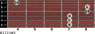B11/13#5 for guitar on frets 7, 7, 7, 8, 8, 4