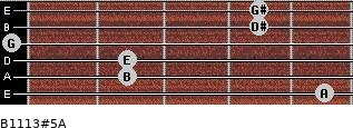 B11/13#5/A for guitar on frets 5, 2, 2, 0, 4, 4