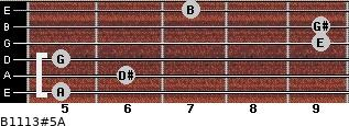 B11/13#5/A for guitar on frets 5, 6, 5, 9, 9, 7