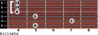 B11/13#5/A for guitar on frets 5, 7, 5, 4, 4, 4