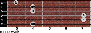 B11/13#5/Ab for guitar on frets 4, 7, 7, 4, 4, 3
