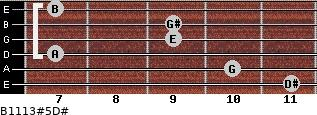 B11/13#5/D# for guitar on frets 11, 10, 7, 9, 9, 7