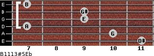 B11/13#5/Eb for guitar on frets 11, 10, 7, 9, 9, 7