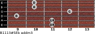B11/13#5/Eb add(m3) guitar chord