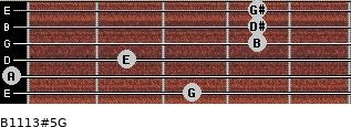 B11/13#5/G for guitar on frets 3, 0, 2, 4, 4, 4