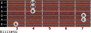 B11/13#5/G for guitar on frets 3, 7, 7, 4, 4, 4