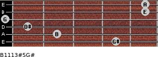 B11/13#5/G# for guitar on frets 4, 2, 1, 0, 5, 5