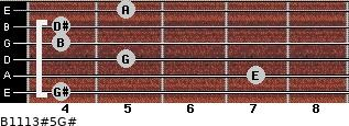 B11/13#5/G# for guitar on frets 4, 7, 5, 4, 4, 5