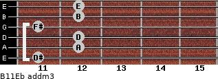 B11/Eb add(m3) guitar chord
