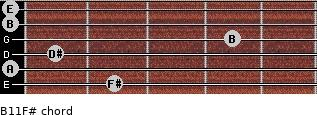 B11/F# for guitar on frets 2, 0, 1, 4, 0, 0