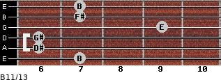 B11/13 for guitar on frets 7, 6, 6, 9, 7, 7