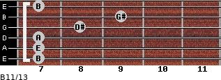 B11/13 for guitar on frets 7, 7, 7, 8, 9, 7
