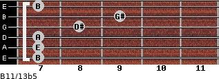 B11/13b5 for guitar on frets 7, 7, 7, 8, 9, 7