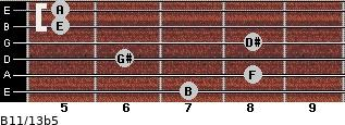 B11/13b5 for guitar on frets 7, 8, 6, 8, 5, 5