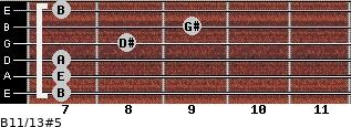 B11/13#5 for guitar on frets 7, 7, 7, 8, 9, 7