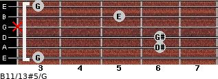 B11/13#5/G for guitar on frets 3, 6, 6, x, 5, 3
