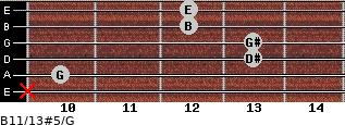 B11/13#5/G for guitar on frets x, 10, 13, 13, 12, 12