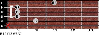 B11/13#5/G for guitar on frets x, 10, 9, 9, 9, 11