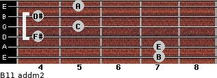 B11 add(m2) for guitar on frets 7, 7, 4, 5, 4, 5
