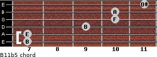 B11b5 for guitar on frets 7, 7, 9, 10, 10, 11